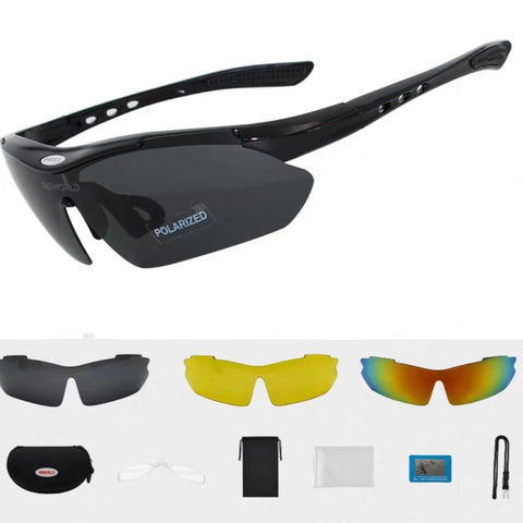 Multiple Lens Sport UV Sunglasses with Prescription Inserts 3 Lens Hard Case and Accessories