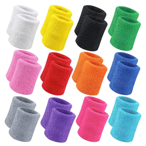 Sweatbands Wristbands Terry Cloth Athletic Sweatbands - Single Colours