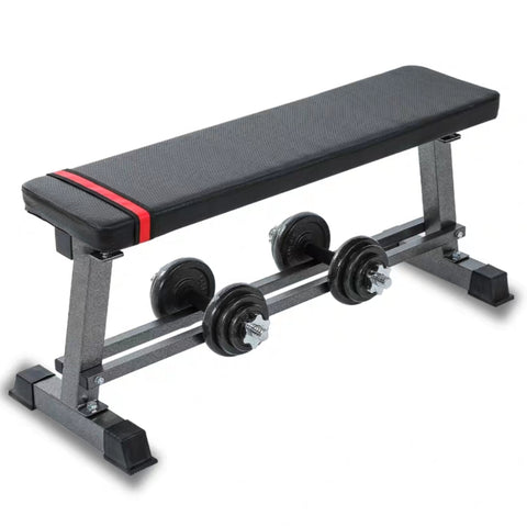Multi-Purpose Flat Weight Bench with Lower Dumbbell Storage Rack Base
