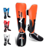 A Pair Pro Shin Instep Guards MMA Boxing Leg Support Foot Protector Pad Muay Thai Sparring Gear
