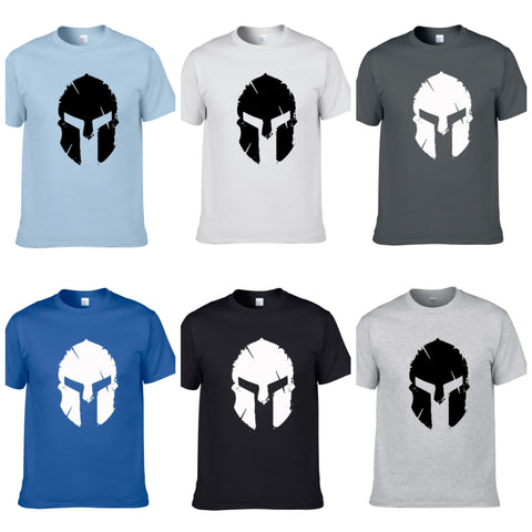 Mens Bodybuilding T-Shirt Spartan Helmet Gym Training Top