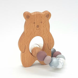 Teether Baloo Bear-Ash Rose, Marble & Silver