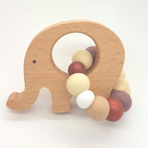 Teether Little Elephant-Silver, White & Marble