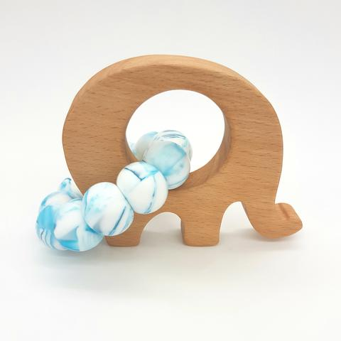 Teether Little Elephant-Azure Marble