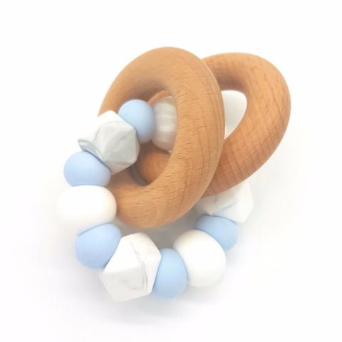 Teether Eclipse-Baby Blue, Marble & White