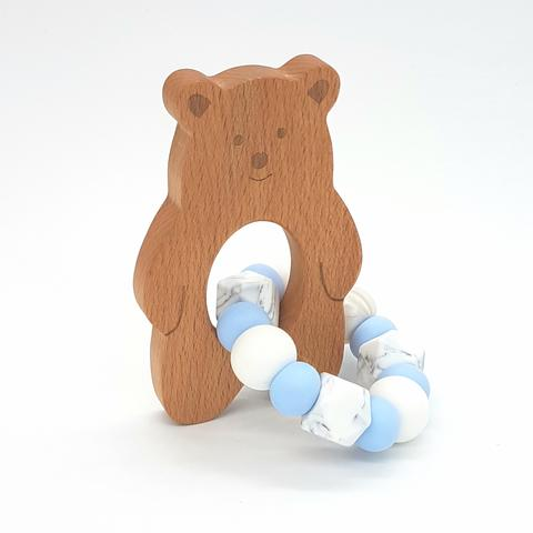 Teether Baloo Bear-Baby Blue, White & Marble