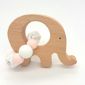 Teether Little Elephant-Baby Pink, Marble & White