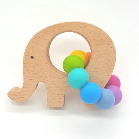 Teether Little Elephant-Bright Rainbow