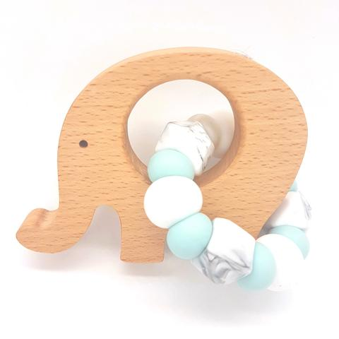 Teether Little Elephant-Duck Egg Blue, White & Marble