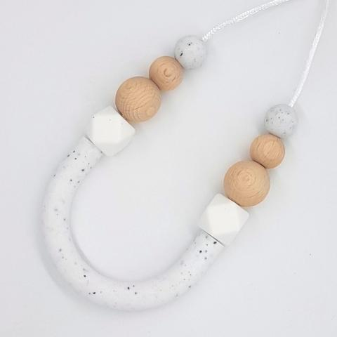 Silicone Necklace- Granite & Beech Bow