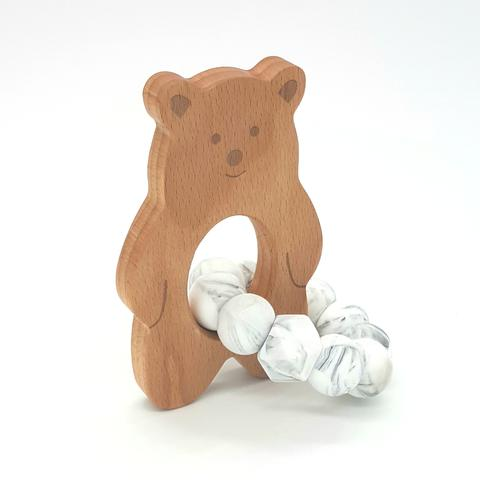 Teether Baloo Bear-Grey Marble