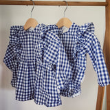 Gingham L/S Frilly Playsuit
