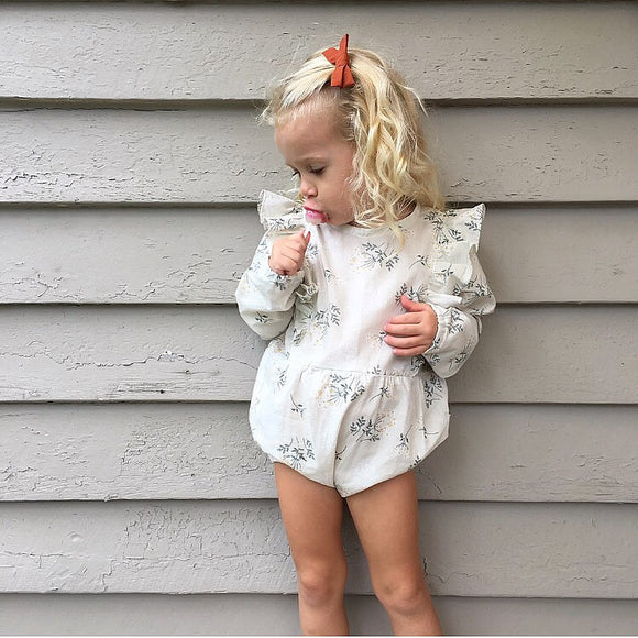 Winter Flower L/S Frilly Playsuit