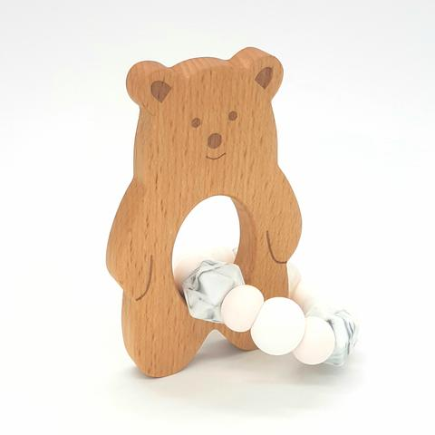 Teether Baloo Bear-Marble, White & Petal Pink