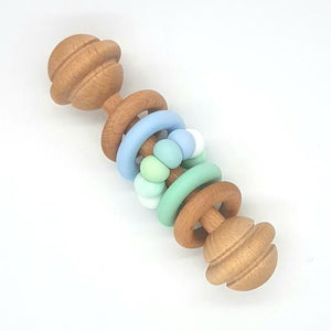 Vintage Rattle- Mint, Duck Egg & Blue