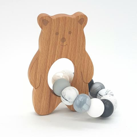 Teether Baloo Bear-Monochrome