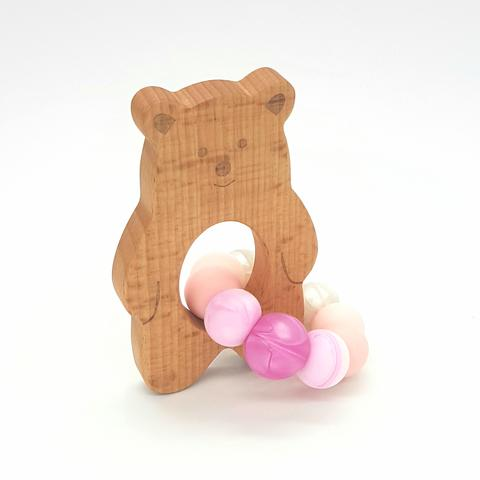 Teether Baloo Bear-Ombre Pink