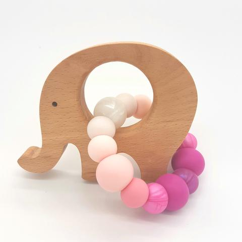 Teether Little Elephant-Ombre Pink