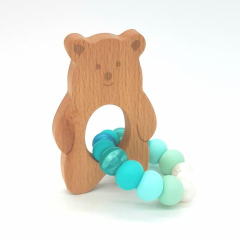 Teether Baloo Bear-Ombre Turquoise