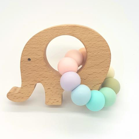 Teether Little Elephant-Pastel Rainbow