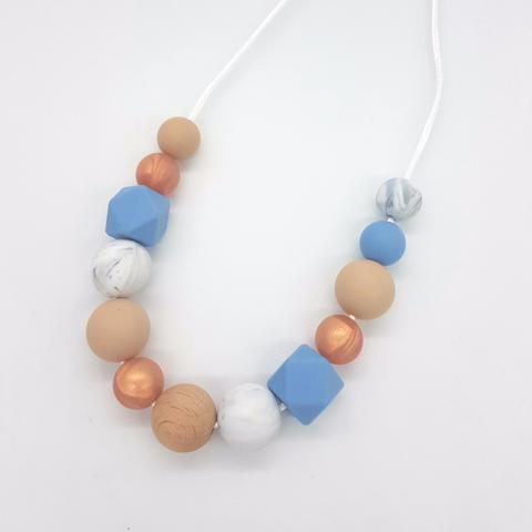 Silicone Necklace- Powder Blue & Rose Gold