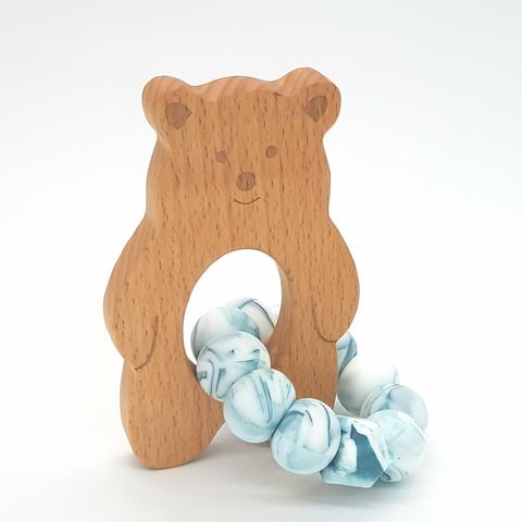 Teether Baloo Bear-Teal Marble