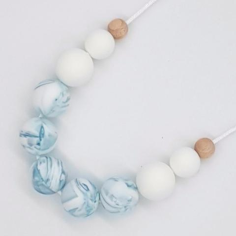 Silicone Necklace- Teal Marble