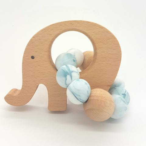 Teether Little Elephant-Teal Marble