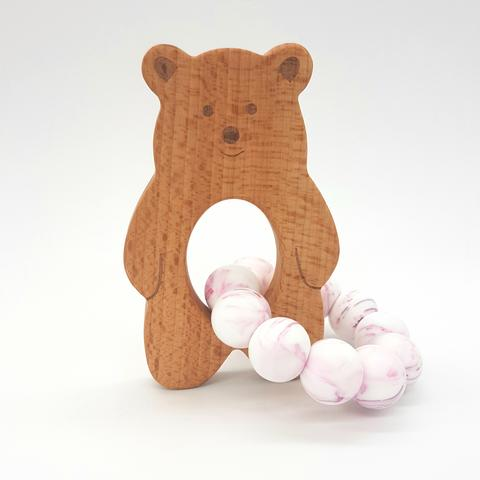 Teether Baloo Bear-Violet Marble