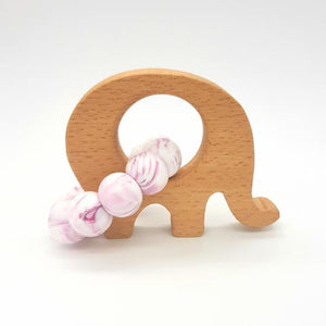 Teether Little Elephant-Violet Marble