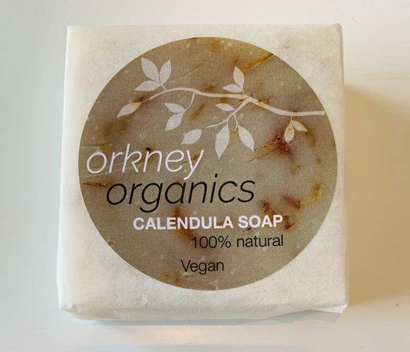 Paper wrapped, Orkney Organic, unfragranced, calendula, cold pressed, vegan soap