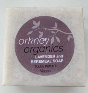 Paper wrapped, Orkney Organics, vegan, lavender and Beremeal soap