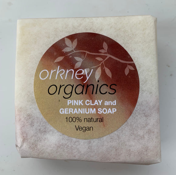 Paper wrapped, Orkney Organics, vegan, cold pressed, pink clay and geranium soap