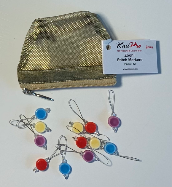 Little golden zip bag which contains 12 porcelain multi coloured flat discs, stitch markers, made by Knit Pro