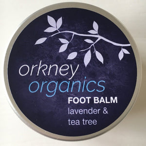 Aluminium tin of Orkney Organics, lavender and tee tree foot balm.