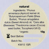 Ingredients label for Orkney Organics, Organic natural, unfragranced lip balm