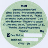 Ingredients label for Orkney Organics, Organic mint lip balm