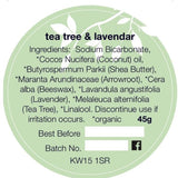 Ingredient list of Orkney Organics tea tree and lavender deodorant