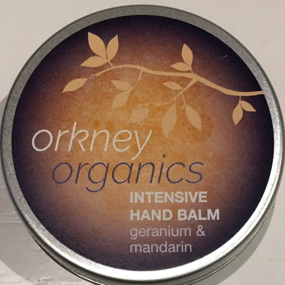 45g Aluminium tin of Orkney Organics Intensive Hand Balm with geranium and mandarin essential oils