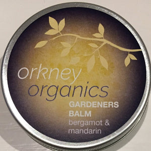 A 45g aluminium tin of Orkney Organic Gardeners hand balm, with bergamot and mandarin essential oils.