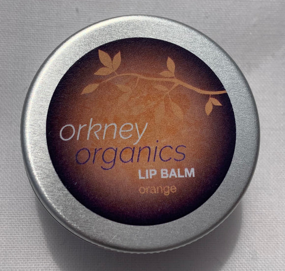 Aluminium tin of Orkney Organics, Organic orange lip balm
