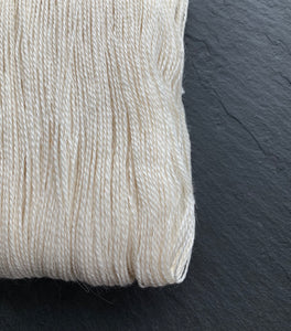 100g hank of Baby Alpaca and silk, lace weight, undyed yarn