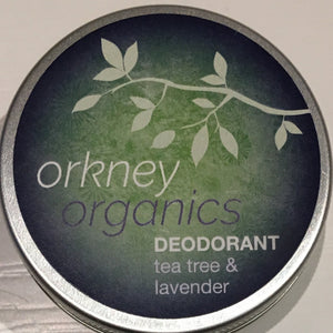 45g aluminium tin of Orkney Organics tea tree and lavender deodorant