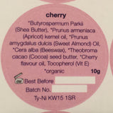 Ingredients label for Orkney Organics, Organic Cherry lip balm