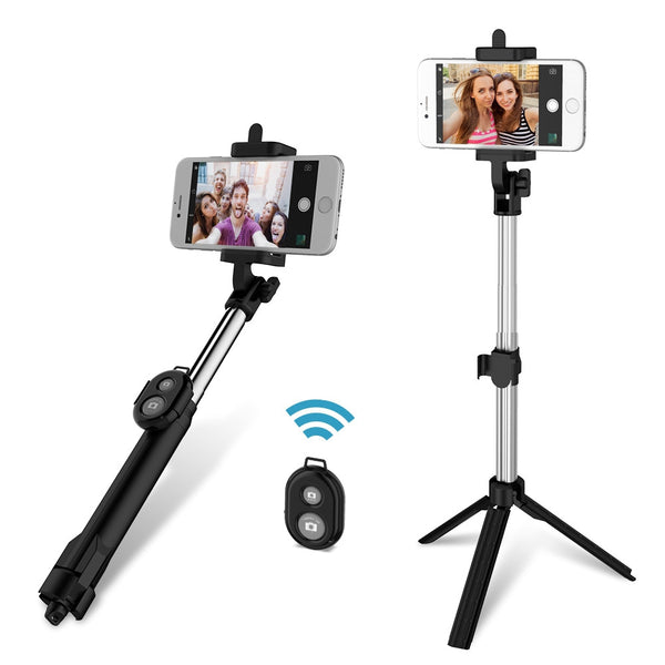 3 in 1 Handheld Extendable Bluetooth Selfie Stick Tripod  Monopod Remote for iOS iPhone Android Smart Phone - Trendeinblick.com