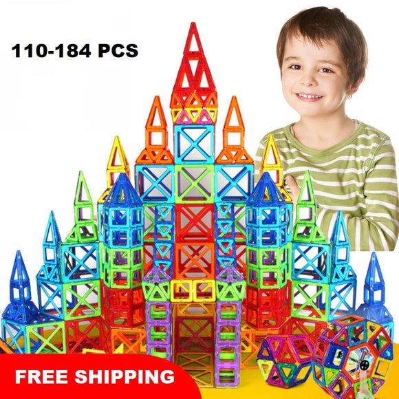 110-184 Piece Magnetic Building Blocks Tiles Set - Trendeinblick.com