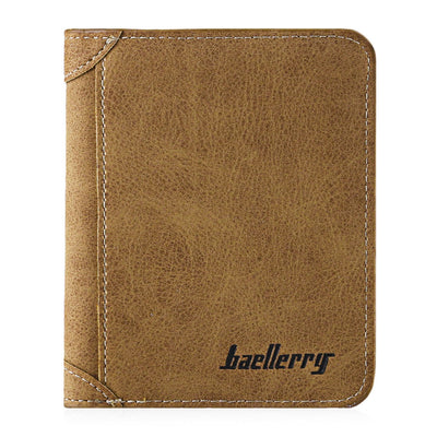 Solid Color Letter Embellishment Dull Polish Open Vertical Wallet for Men - Trendeinblick Inc