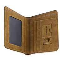 Solid Color Letter Embellishment Dull Polish Open Vertical Wallet for Men - Trendeinblick.com