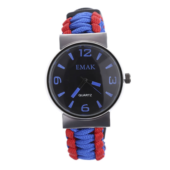Multifunctional Survival Paracord Bracelet Watch with Compass Flint Fire Starter Scraper Whistle Gear