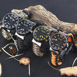 Multifunctional Survival Paracord Bracelet Watch with Compass Flint Fire Starter Scraper Whistle Gear - Trendeinblick.com